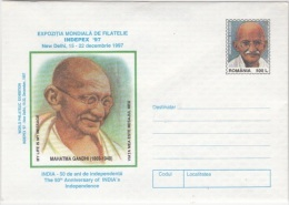 MAHATMA GANDHI, INDIAN INDEPENDENCE, COVER STATIONERY, ENTIER POSTAL, 1997, ROMANIA - Mahatma Gandhi