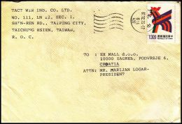 Taiwan R.O.C, Cover Taping City To Zagreb - 1945-... Republic Of China