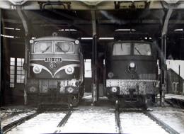Grande Photo 180x130mm Locomotives En Gare Parisienne Cliché Schnabel 1956 - Matériel