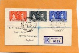 Singapore 1937 Registered Cover - Singapore (...-1959)