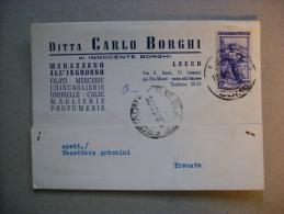 """Cartolina Pubblicitaria """"Ditta Carlo Borghi. Magazzino All´ingrosso Filati,mercerie,profumerie"""" Lecco 1951 - Publicité"""
