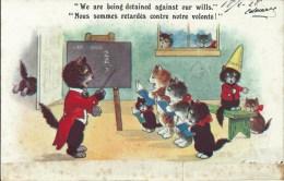 Fantaisie Chat - We Are Being Detained Against Our Wills. Nous Sommes Retardés Contre Notre Volonté. - Chats