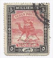 SOUDAN Sudan Postage   Timbre Perforé Soudanais 5 Noir Et Rose  ( Chameau )  , Perforation SG - Soudan (1954-...)