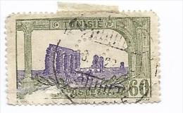 Colonie Francaise RF TUNISIE   Timbre Perforé Tunisien Vert Violet 60 C ( Cachet ) Perforation CN Banque Crédit National - Tunisia