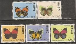 MARIPOSAS - PERU 1990 - Yvert #923/27 ** - Precio Cat. €8.75 - Butterflies