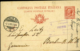 INTERO POSTALE REGNO LEONI 10 C.1908 MILL 07 VIAGG ESTERO BERLIN GERMANIA - Stamped Stationery