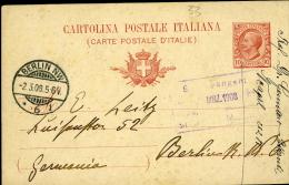 INTERO POSTALE REGNO LEONI 10 C.1908 MILL 07 VIAGG ESTERO BERLIN GERMANIA - 1900-44 Victor Emmanuel III