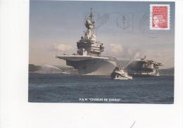 Flamme Mécanique Illustrée PORTE-AVIONS NUCLEAIRE CHARLES DE GAULLE Sur Carte Postale Du Porte-avions 28/12/2001 - Postmark Collection (Covers)