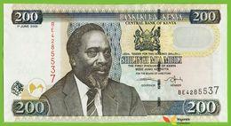 Voyo KENYA 200 Shillingi 2005 P43c  B141c Prefix BE UNC Kenyatta Cotton - Kenya