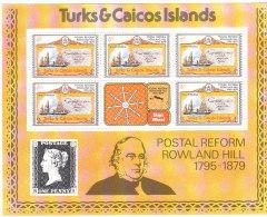1979 TURKS E CAICOS POSTAL REFORM - POSTA ROWLAND HILL - 5 MINIFOGLI INTEGRI - Turks E Caicos