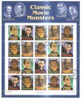62750) 1997 USA-classic Movie Monsters  32c.  Foglio Intero Usato Di 20 Francobolli - Unused Stamps