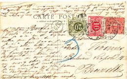 1904 ZICHTKAART(ZIE BESCHRIJVING) MET PZ135(FR)VAN PARIS NAAR BRUXELLES MET TX(B) 5+6 ZIE SCANS - Taxes
