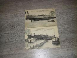 St Nazaire Lancement De L'ERNEST RENAN Croiseur Cuirassé(2 Cartes Postales) - Guerra