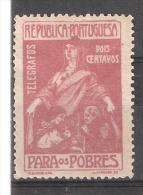 "Portugal, TELEGRAFOS 1915, Yvert  N° 1 2 C Brun Lilas,"" Au Profit Des Pauvres / Para Os Pobres "" Neuf *, TB - Télégraphes"