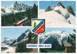 CP, 74, CHAMONIX - MONT BLANC, Multivues, écrite, Voyagé En 1963, Ed : Compagnie Des Arts Photomécaniques - Chamonix-Mont-Blanc