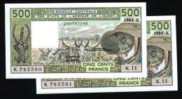 500 Francs SENEGAL 1984 NEUF - UNC - Suite De 2 Billets - Senegal