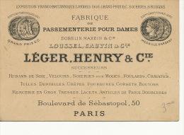 Paris 3  50 Bd Sebastopol Passementerie Leger Henry Soie Silk Loussel Cauvin Dobelin Maxein Expo Universelle - Facturas & Documentos Mercantiles