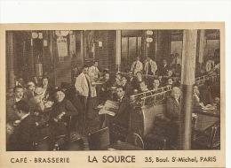 Paris  5 Eme  35 Bd St Michel Pub Café Brasserie La Source Quartier Latin - Arrondissement: 05
