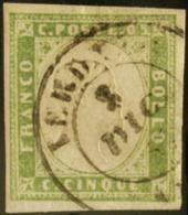 #83 - SARDEGNA - 1857 - 5 Cent. Verde Giallo Chiaro - Sas. N.13Af.# - Sardegna