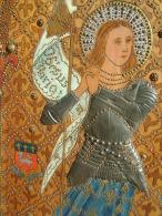 Traité à La Façon D'une Icône, Ce Magnifique Tableau De Belle Taille Représente Jeanne D'Arc En Armure - Oleo