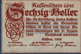 60 HELLER XF AUNC AUSTRIA 1919 TIROL - Autriche