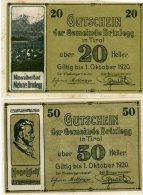 20 & 50 HELLER XF AUNC AUSTRIA 1920 - Autriche