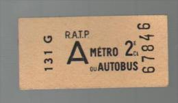 Ticket De 2e Classe Neuf - Metropolitana