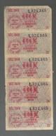 "Décembre 1949 - Lot De 5 Bons ""DIX LITRES DE CARBURANT"" - Old Paper"