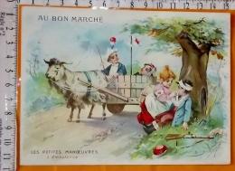 Chromo Fin 19° / Au Bon Marché / Champenois / Les Petites Manoeuvres / L'ambulance / Attelage Brebis Mouton Chariot - Au Bon Marché