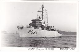Batiment Militaire Marine Nationale A 640 Origny Dragueur  20-12-1962  Equipage  Marius Bar - Guerre