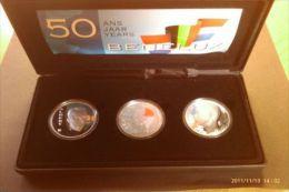50 ANS BENELUX 1994 250 Francs Belgique Et Luxembourg 10 Gulden Pays-Bas Argent - Belgique