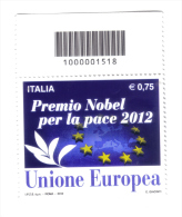 PREMIO NOBEL PER LA PACE 2012 UNIONE EUROPEA CODICE A BARRE  Cod.fra.488 - Codici A Barre