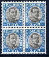 ICELAND 1920 Christian X 2Kr Official Block Of 4   MNH (**) - Officials