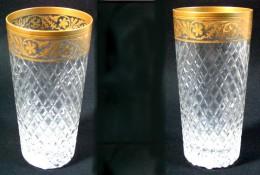 Superbe Verre En Cristal Doré D'époque XIXè - Glas & Kristal