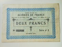 Pas-de-Calais 62 Isbergues Aciéries De France , 1ère Guerre Mondiale 2 Francs 1-1-1916 - Bonds & Basic Needs