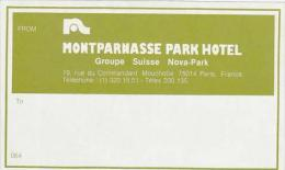 FRANCE PARIS HOTEL MONTPARNASSE PARK HOTEL VINTAGE LUGGAGE LABEL - Hotel Labels