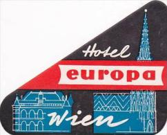 AUSTRIA WIEN HOTEL EUROPA VINTAGE LUGGAGE LABEL - Hotel Labels