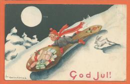 HB543, Lutin, Elfe, Luge, Lapin, Cadeaux,  Gog Jul, Goûcheron, Circulée Sous Enveloppe - Unclassified