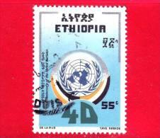 ETIOPIA - Usato - 1985 - ONU - 40 Anniversario Delle Nazioni Unite - UN - 55 - Etiopia