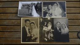 BC5-2-84 Lot 5 Carte Photo  Mariés Mariage Couple Noces Wedding Bruiloft Broderie - Noces