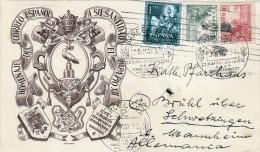 Spanien 1952, 3 Fach Frankierung Auf Schmuckkarte, Sonderstempel Barcelona - 1931-Heute: 2. Rep. - ... Juan Carlos I