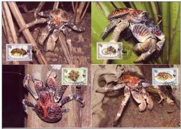 British Indian Ocean Territory 1993 WWF W.W.F. Maximum Cards Coconut Crab Set X4 Fauna, India - W.W.F.