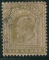 INDIA 1902 6a Olive-bistre KE VII SG 131 U EE64 - India (...-1947)