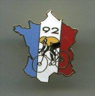PINS  CYCLISME TOUR DE FRANCE 92 CARTE DE FRANCE BLEU BLANC ROUGE / MA06 - Ciclismo