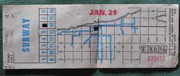 "Billet Tramway De  Chicago "" Subway"" Jan 29 - World"