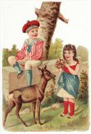CHROMO Découpis Gaufrée Glacée Enfants Fille Garçon Biche Fleurs Fin 19ème - Cromos