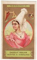 CHROMO Dorée Chocolat Poulain Hérold Normandie Femme Coiffe Parapluie Coq - Poulain