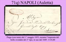 Auletta-00071q - Piego (con Testo) Del 1maggio 1855 - - 1. ...-1850 Prefilatelia