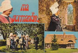 """Ma Normandie, Folklore, Animée, Costume, Chaumiére. """" Le P'tit Capé D'brix """" ( Cotentin ) - Francia"""