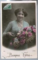 Jolie CP Ancienne Bonne Fête - Femme Panier Fleurs - Ed Lotus 641 - Pour Mme Cruau Nantes - Fêtes - Voeux